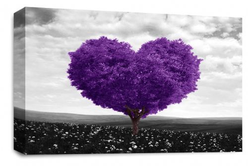 Love Heart Wall Art Picture Floral Tree Purple White Grey Print